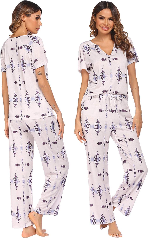 Ekouaer Pajamas Set Short Sleeve Sleepwear Women 2 Pieces Pjs V-Neck Tops and Long Pants Printed Loungewear