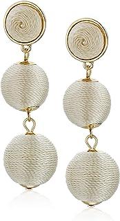 Women's Double Ball Post Drop Earrings, Ivory, One Size
