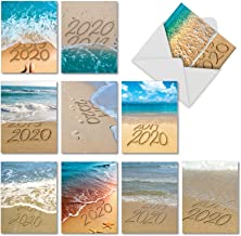 Sands of Time - 10 Tropical Beach Happy New Year Greeting Cards with Envelopes (4.63 x 6.75 Inch) - NYE Boxed Assortment AM6133NYG-B1x10-19