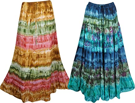 3c3f8b92b4f 2pc Womens Maxi Skirt Printed Flared Bohemian Style Tiered Elastic Waist  Skirt S M Blue