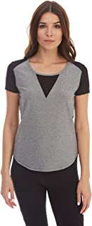 X by Gottex Womens XGT-507T V Neck Mesh Top Shirt - Gray