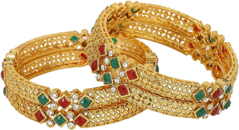 Efulgenz Indian Style Bollywood Traditional Gold Plated Kundan Stone Wedding Bridal Bracelet Bangle Set Jewelry (4 Pc)