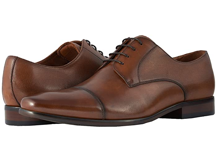 1930s Style Mens Shoes & Boots Florsheim Postino Cap Toe Oxford Cognac SmoothPerf Mens Lace Up Cap Toe Shoes $99.95 AT vintagedancer.com