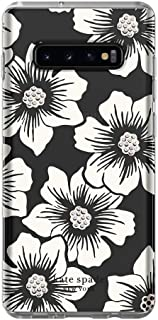 Kate Spade New York Phone Case   for Samsung Galaxy S10 Plus   Protective Clear Crystal Hardshell Phone Cases with Slim Design and Drop Protection - Hollyhock Floral Clear/Cream with Stones