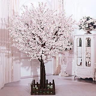 j-beauty Artificial Peach Blossom Trees Artificial White Cherry Blossom Tree, Silk Flower (6feet Tall)