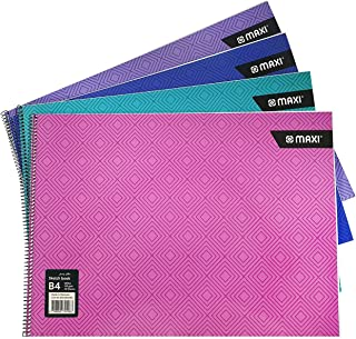 Maxi SPIRAL SKETCH BOOK WHITE B4 110GSM 20 SHEETS,Assorted colours, SBKWB4