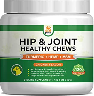 Hip & Joint Supplement for Dogs - Hemp Oil Infused Soft Chews Dog Treats w/Glucosamine, Turmeric, Chondroitin, MSM & Omega...