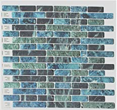 Crystiles Peel and Stick Vinyl Wall Stick-on Tile Backsplash for Kitchen n Bathroom, Blue, Green, Turquoise and Black Marble, Item# 91010841, 10 in X 10 in, 6 Sheets Pack