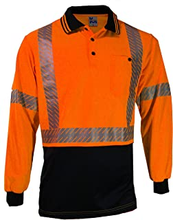 MAK WORKWEAR | Long Sleeve Hi-Vis Polo with Cross Back Segmented Reflective Tape - Orange/Navy