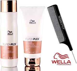 Wella FUSION PLEX Intense Repair Shampoo & Conditioner DUO SET (with Sleek Steel Pin Tail Comb) (8.4 oz + 6.7 oz - DUO Kit)