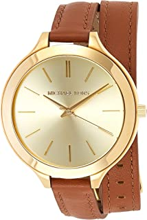 Michael Kors Slim Runway Women's Gold Dial Leather Band Double-Wrap Watch - MK2256