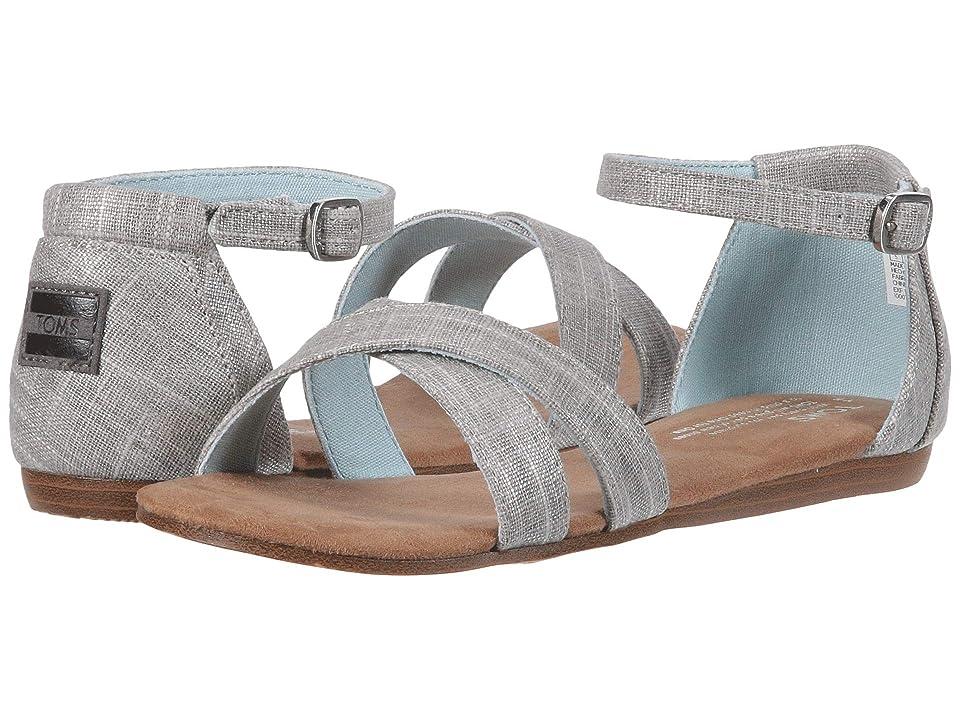 TOMS Kids Correa Sandal (Little Kid/Big Kid) (Silver Metallic Linen) Girls Shoes