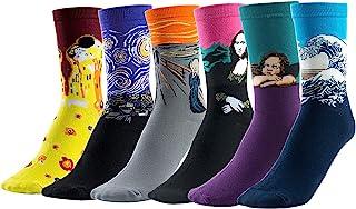 Joeyer, Calcetines Estampados Hombre, 6 Para Pintura Famosa Medias Algodón Calcetín Colorido Diseño Divertido Hombre Transpirable Cómodo Calcetines Hombre Invierno