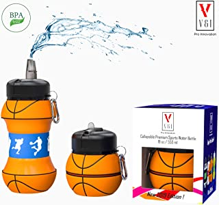 Kids Sports Water Bottle School Drinking Cup Collapsible 19 Oz Ball Shaped Leak Proof Shockproof Baseball Tennis Soccer Basketball Volleyball Golf Squeezable Compact Travel Jug Great Gift