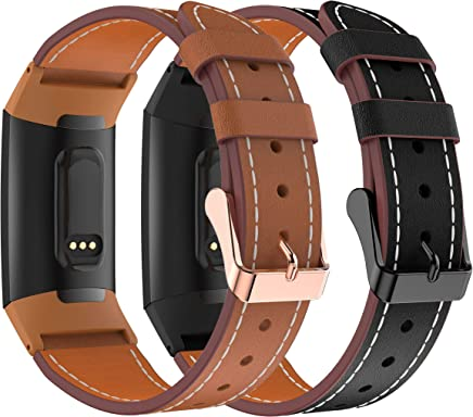Sycreek Leather Bands Compatible with Fitbit Charge 3 and Fitbit Charge 3 SE Band Premium Leather Replacement Band Wrist for Women Men 2Pack