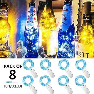 Battery Powered Fairy String Lights 8 Pack 10 ft 30 LED Starry Lights for DIY Mason Jar Wine Bottle Glasses Lighting for Home Bedroom Patio Wedding Christmas Table Decoration (Blue)