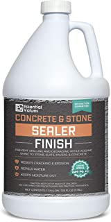 Essential Values 1 Gallon Concrete Sealer (Covers 1500 Sq Ft) – an Excellent Clear & Wet Sealant Designed for Indoor/Outdoor Stone Surfaces - Perfect for Concrete   Driveways   Garages   Basements