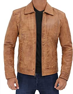 Mens Winter Leather Coats and Jackets - 100% Real Distressed Brown Lambskin - brown - XXXL