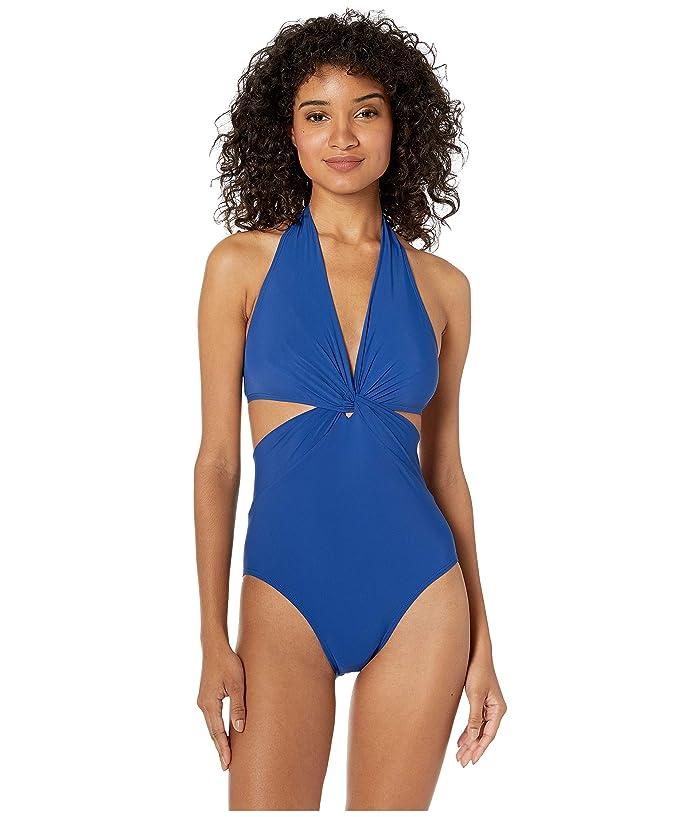 Kate Spade New York Grove Beach Knotted Halter One-Piece Swimsuit (Capri Blue) Women