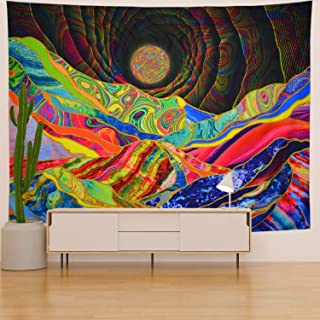AONIONER Psychedelic Mountain Tapestry Trippy Sun Tapestry Colorful Bohemian Tapestry Abstract Fantasy 3D Tapestry Wall Hanging for Living Room