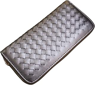 AM Landen Braided Synthetic Leather Zip Around Long Wallets Organizer (Silver)