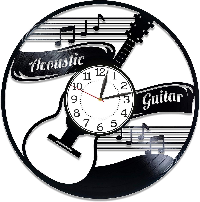 Kovides Acoustic Guitar Birthday Gift Idea Music Vinyl Clock 12 Inch for Man and Woman Music Original Home Decor Acoustic Guitar Vinyl Record Wall Clock Guitar Handmade Clock
