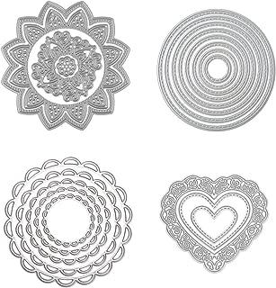 Dies Cut Cutting Die Scrapbooking for Card Making Love Heart Round Circle Flower Sunflower Nesting Metal Stencils 4set for DIY Photo Album Decorative Embossing DIY Paper (Set 4)