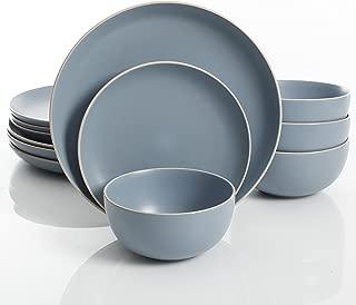 Gibson Home Rockaway 12-Piece Dinnerware Set Service for 4, Blue Matte