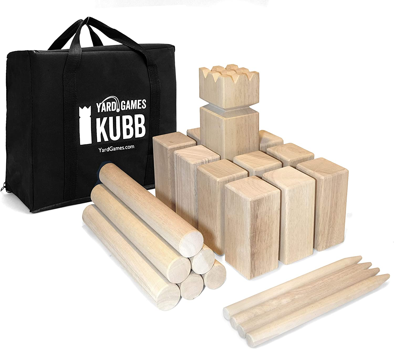 Yard Games 5 ☆ very popular Kubb Regulation Excellent Size Outdoor with Carryi Game Tossing