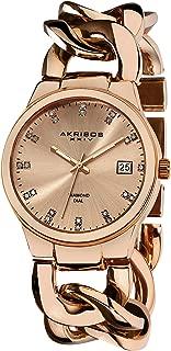 Akribos XXIV Women's Impeccable Diamond Watch - 23 Genuine Diamond Hour Markers Swiss Quartz Watch On a Twist Chain Bracelet - AK608