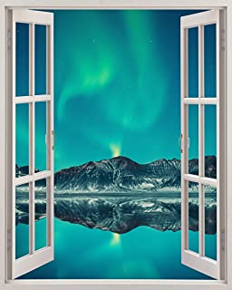 "Fabulous Décor - Aurora Skies 3D Window View Wall Art Premium Vinyl Decal Sticker 30""H X 24""W"