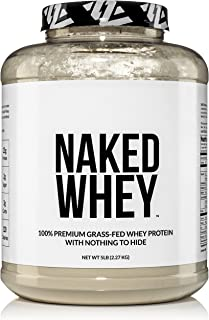 NAKED WHEY 5LB 100% Grass Fed Whey Protein Powder - US Farms, 1 Undenatured, Bulk, Unflavored - GMO, Soy, and Gluten Free - No Preservatives - Stimulate Muscle Growth - Enhance Recovery - 76 Servings