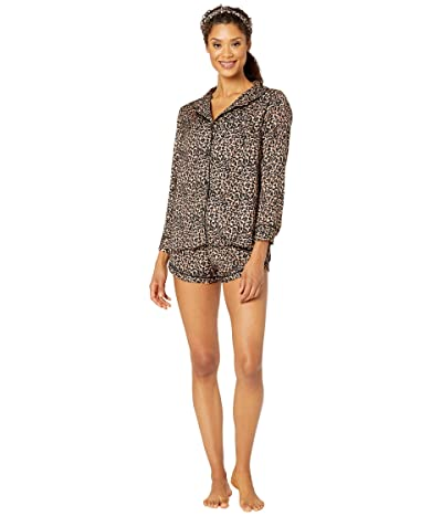 Plush Cheetah Print Pajama + Headband Set (Black/Brown Multi) Women