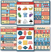 6 Educational LAMINATED poster teaching charts for classrooms early education for learning Alphabet Abc, days of the week, shapes, counting chart, months of the year chart, colors edu (18x24)