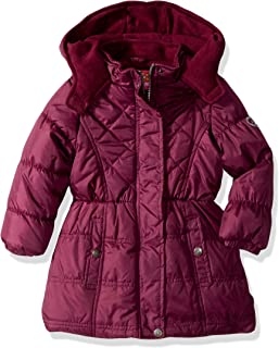 Pink Platinum Girls' Multi Quilted Long Puffer