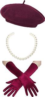 Coucoland Damen Fasching Kostüm Accessoires Set Französischer Stil A Night In Paris Party Inklusive Damen Französisch Barett Velvet Samt Handschuhe Kurze Perlen Halskette (Weinrot)