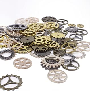 BIHRTC 100 Gram Mixed Color Antique Metal Steampunk Gears Charms Pendant Clock Watch Wheel Gear for Crafting, Jewelry Making Accessory (Assorted Color 1)