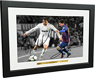 Signed 12x8 Black Soccer Cristiano Ronaldo Real Madrid Lional Messi Barcelona Autographed Photo Photograph Football Picture Frame Gift A4
