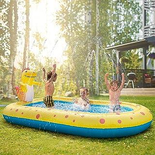 Inflatable Sprinkler Swimming Pool, Blow Up Kiddie Water Pool with Splash, Portable Cute Dinosaur Design Babies Toy Pool, ...