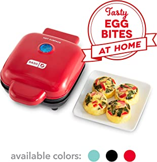 Dash DBBM450GBRD08 Deluxe Sous Vide Style Egg Bite Maker with Silicone Molds for Breakfast Sandwiches, Healthy Snacks or Desserts, Keto & Paleo Friendly, (1 large, 4 mini), Red