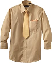 American Exchange Big Boys' Dress Shirt with Tie and Pocket Square, Gold