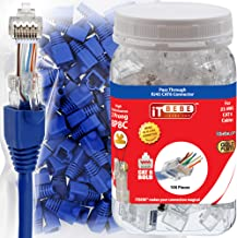 ITBEBE 100 Sets RJ45 Cat6 Pass Through connectors and Blue Strain Relief Boots for Solid or Stranded Wire. 8P8C UTP Passthrough cat 6 Network Insert ethernet Plug for Unshielded Twisted Pair Cables