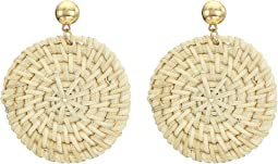 "2.5"" Gold Direct Post Top with Ivory Rattan Circle Drop Earrings"