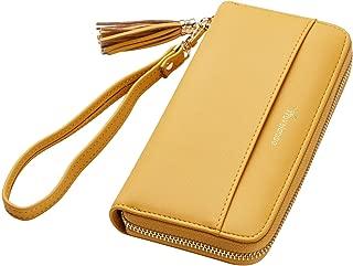 Travelambo Womens Wallet Tassel Bifold Ladies Cluth Wristlet Wrist strap Long Purse