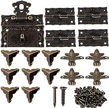 1 set decoratieve box-hardware van brons, 1 sloten, 4 stuks vlinderscharnieren en 8 stuks decoratieve boxhoeken, 4 stuks d...