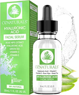 OZNaturals Hyaluronic Acid and Vitamin C Serum - Moisturizing and Anti Aging Serum For Face With Pure Vitamin E Oil and Rosehip Oil - Best Anti Wrinkle and Pore Minimizer Facial Serum - 1 Fl Oz
