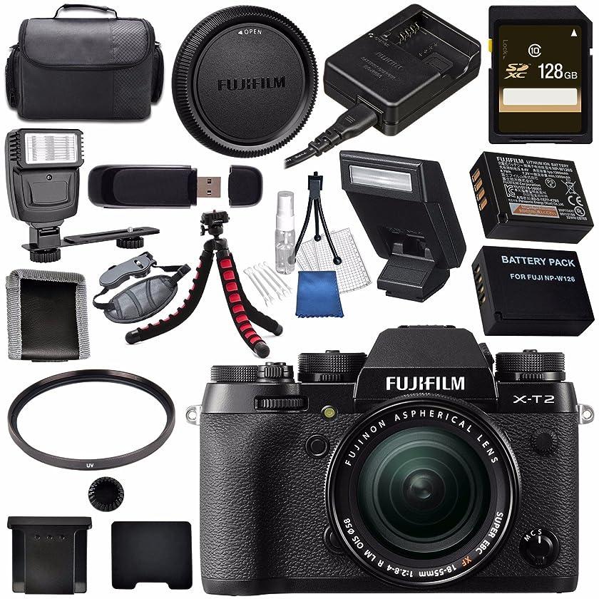 Fujifilm X-T2 Mirrorless Digital Camera with 18-55mm Lens 16519314 + NP-W126 Lithium Ion Battery + 58mm UV Filter + 128GB SDXC Card + Carrying Case + Flexible Tripod Bundle