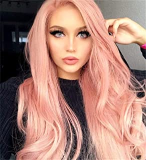 Cool2day Synthetic Long Wavy Wig Middle Part Cosplay Pink Hair for Women Pink Wave Ladies Natural Heat Resistant Fiber