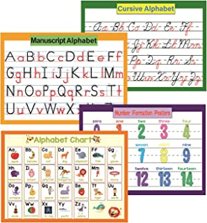 YIYEE 4 szt. edukacyjne wykresy przedszkolne dla małych dzieci i dzieci | zestaw tablic ogłoszeniowych w klasie i dekoracj...