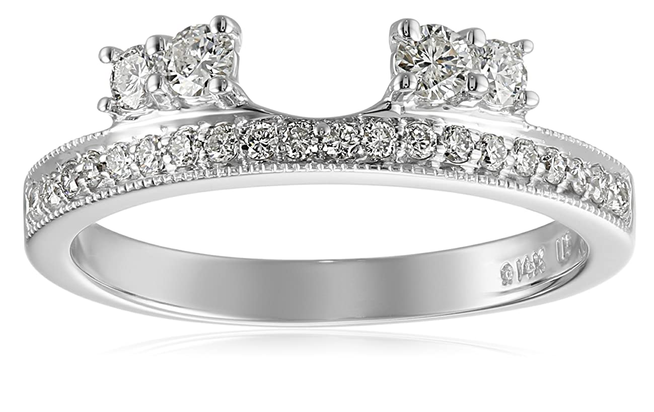 14k White Gold Round Diamond Solitaire Engagement Ring Enhancer (1/2 carat, H-I Color, I1-I2 Clarity)